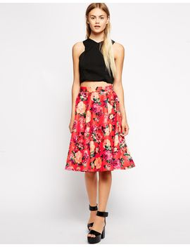 asos-floral-midi-skirt-in-scuba by asos-collection