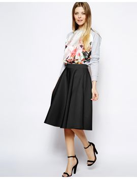 asos-full-midi-skirt-in-scuba-with-pockets by asos-collection