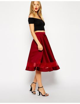 asos-midi-skirt-in-scuba-with-sheer-panel by asos-collection