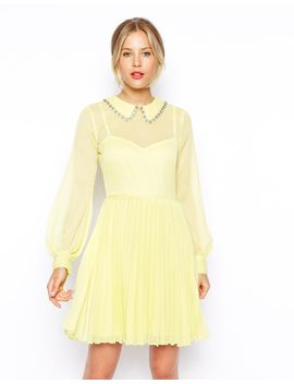 asos-embellished-collar-pleat-skater-dress by asos-collection