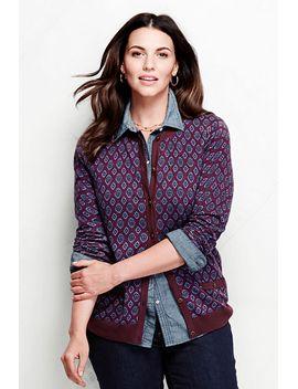 womens-plus-size-print-fine-gauge-supima-pocket-crewneck-cardigan by lands-end