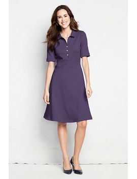 womens-plus-size-elbow-sleeve-60_40-blend-seamed-polo-dress by lands-end