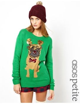 asos-petite-christmas-sweater-with-pug by asos-petite