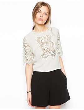 asos-premium-lace-boxy-kimono-t-shirt by asos-collection