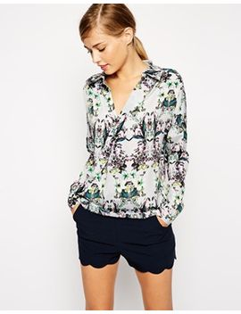 asos-wrap-front-blouse-in-botanical-floral-print by asos-collection