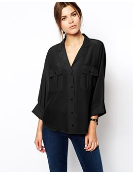 asos-blouse-with-double-pockets-and-batwing-sleeves by asos-collection