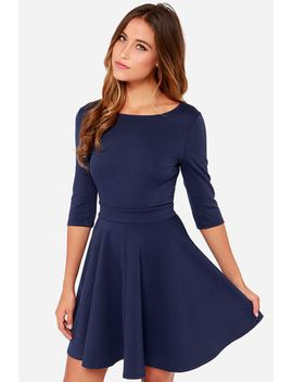 just-a-twirl-navy-blue-dress by lulus