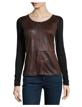 crackled-faux-suede-combo-top,-black_brown by neiman-marcus