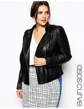 asos-curve-exclusive-premium-leather-biker-jacket by asos-curve