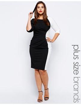 lipstick-boutique-plus-contrast-panel-dress by lipstick-boutique-plus