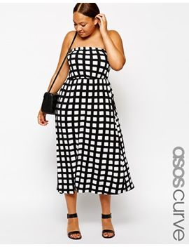 asos-curve-exclusive-bandeau-dress-in-check by asos-curve