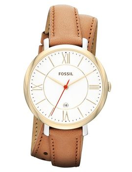 jacqueline-round-wrap-leather-strap-watch,-36mm by fossil