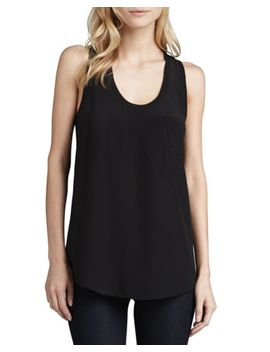 alicia-racerback-pocket-tank,-caviar by joie