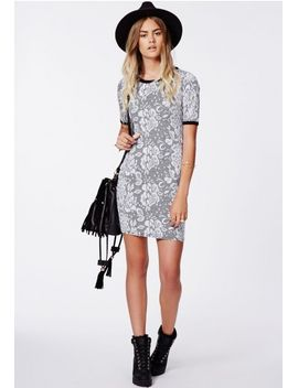 amilie-jacquard-contrast-binding-bodycon-dress-grey by missguided