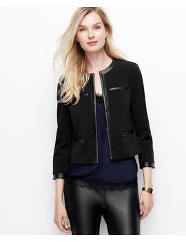 petite-faux-leather-trim-ponte-jacket by ann-taylor