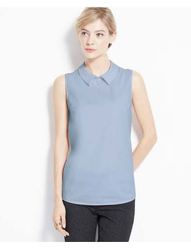 petite-collared-sleeveless-shirt by ann-taylor