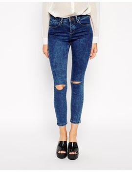 asos---lisbon---jean-skinny-taille-mi-haute-longueur-cheville-avec-délavage-marbré-et-déchirures-aux-genoux by asos-collection