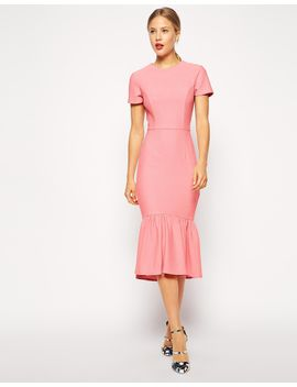asos-pencil-dress-with-peplum-hem-in-texture by asos-collection