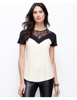 crepe-colorblock-lace-top by ann-taylor