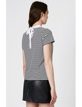 stripe-print-collared-tee by topshop
