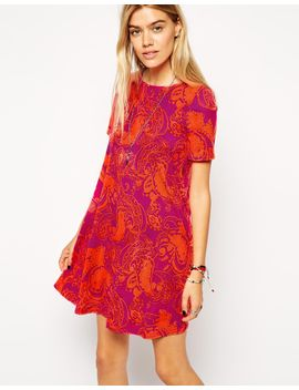 asos-swing-dress-with-short-sleeves-in-bright-paisley by asos-collection