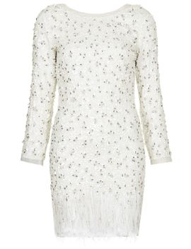 limited-edition-embellished-feather-hem-bodycon-dress by topshop