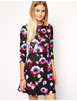asos-a-line-scuba-dress-with-long-sleeves-in-petal-floral by asos-collection