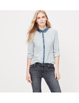 petite-chambray-knit-button-down-shirt by loft