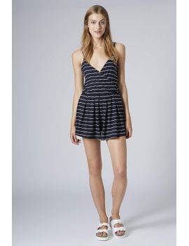 stripe-jersey-wrap-playsuit by topshop
