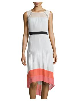 colorblock-pleated-high-low-dress,-moonlight by bcbgmaxazria