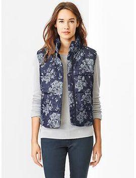 floral-jacquard-puffer-vest by gap