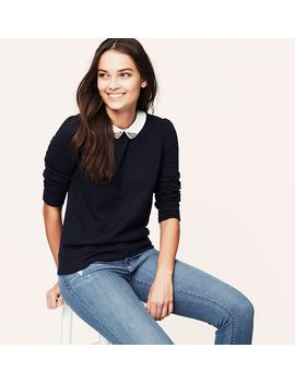 jewel-collared-sweatshirt by loft