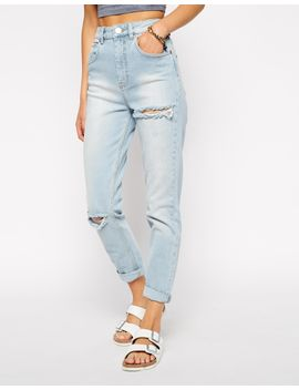 asos-farleigh-high-waist-slim-mom-jeans-in-karma-wash-blue-with-thigh-rips by asos-collection