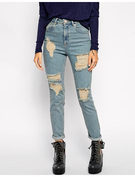 asos-farleigh-high-waist-slim-mom-jeans-in-davina-wash-with-extreme-rips by asos-collection