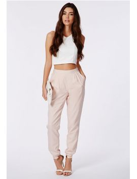 krystyna-white-scuba-crop-top-with-v-neck by missguided