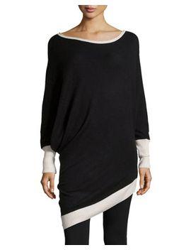 wool-blend-contrast-asymmetric-tunic,-black by bcbgmaxazria