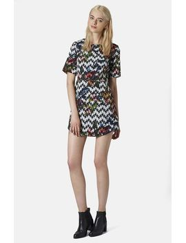 blurred-jacquard-a-line-dress by topshop