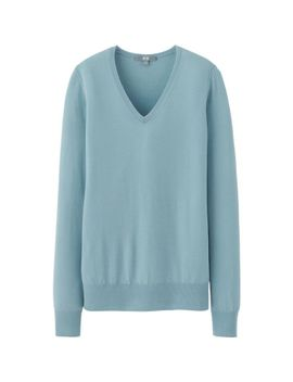 women-extra-fine-merino-v-neck-sweater by uniqlo