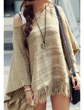 fringe-hem-knit-cape by lookbook-store
