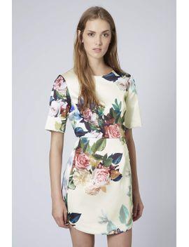 blur-rose-print-satin-a-line-dress by topshop