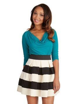 stripe-it-lucky-skater-skirt-in-black-&-ivory by modcloth