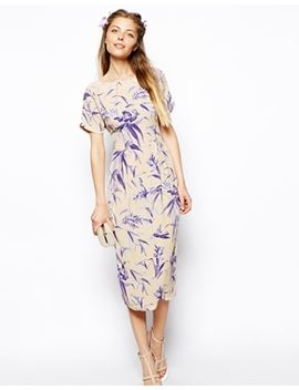 asos-wiggle-dress-in-leaf-print-with-v-back by asos-collection