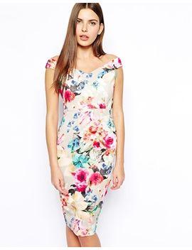 asos-bloom-print-scuba-pencil-dress by asos-collection