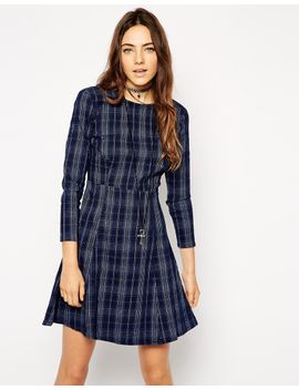 asos-denim-swing-dress-in-check-print by asos-collection
