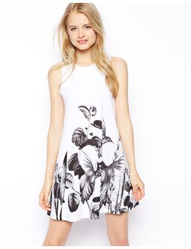 asos-swing-dress-in-floral-border-print by asos-collection