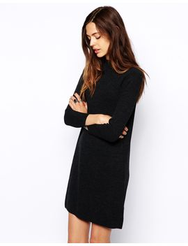 asos-swing-dress-with-high-neck-in-rib by asos-collection