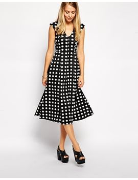 asos-scuba-midi-dress-in-check-print by asos-collection