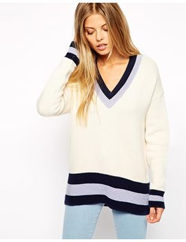asos-deep-v-jumper-in-colourblock by asos-collection