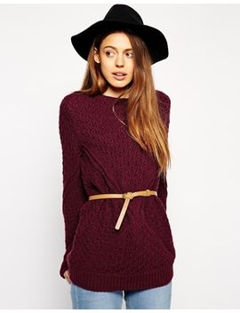 asos-sweater-in-cable-knit-with-belt by asos-collection