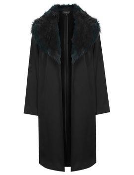 faux-fur-collar-coat by topshop